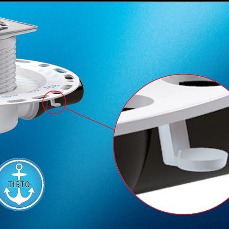 Just 69 mm high - permanently odour-free - and perfectly anchored: the innovative TistoPrimus drain assembly